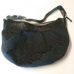 COACH Black Signature Large Hobo Handbag